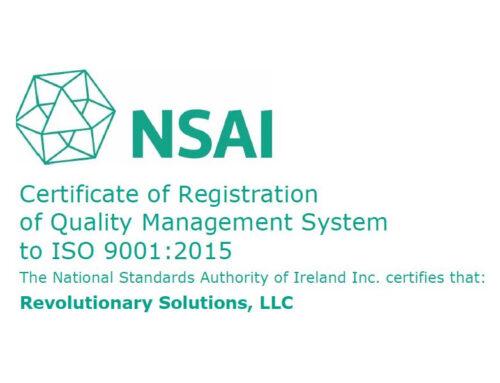 Revolutionary Solutions, LLC. Awarded ISO 9001:2015 Certificate